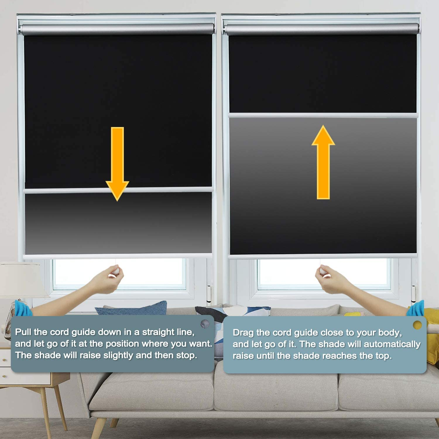 Allesin Blackout Roller Shades Window Shades and Cordless Blinds for Home  Offi