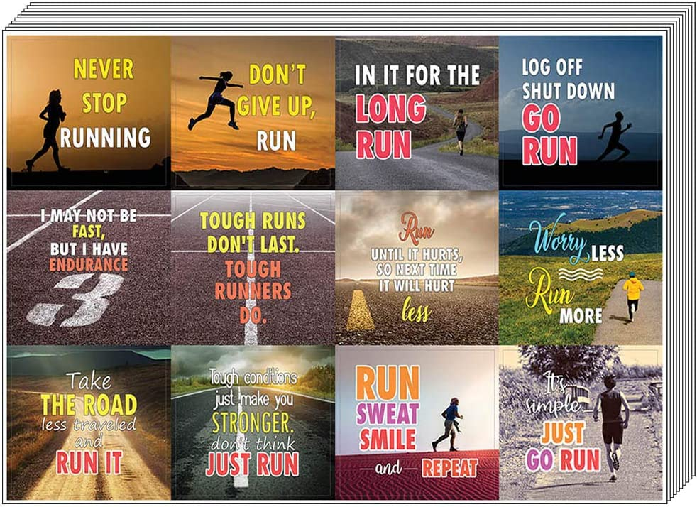 20-Sheet Sprinters Teens Joggers Wall Decal Decor Art Bulk Pack Unique Sports Gifts Creanoso Running Stickers Adult Men /& Women Inspirational Sayings Premium Gift Set Stickers for Runners