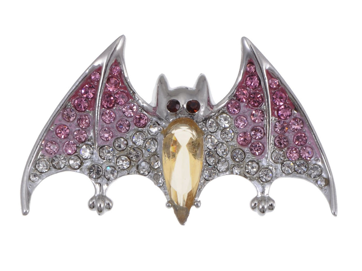 Alilang Silver Tone Halloween Ombre Pink Vampire Bat Wing Crystal Rhinestone Animal Brooch Pin