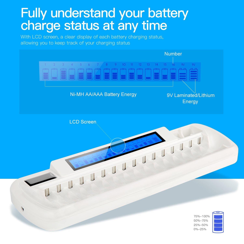 Lithium Batterie Akkuladeger/ät mit Smart LCD Display AAA Batterie und zus/ätzlichen 2 Steckpl/ätzen f/ür 9V Laminierte iEGrow Akkuladeger/ät mit 16 Steckpl/ätzen f/ür Ni-MH AA