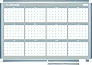 """MasterVision Planning Board Magnetic Dry Erase 12 Month Calendar Board with Aluminum Frame, 24"""" x 36"""""""