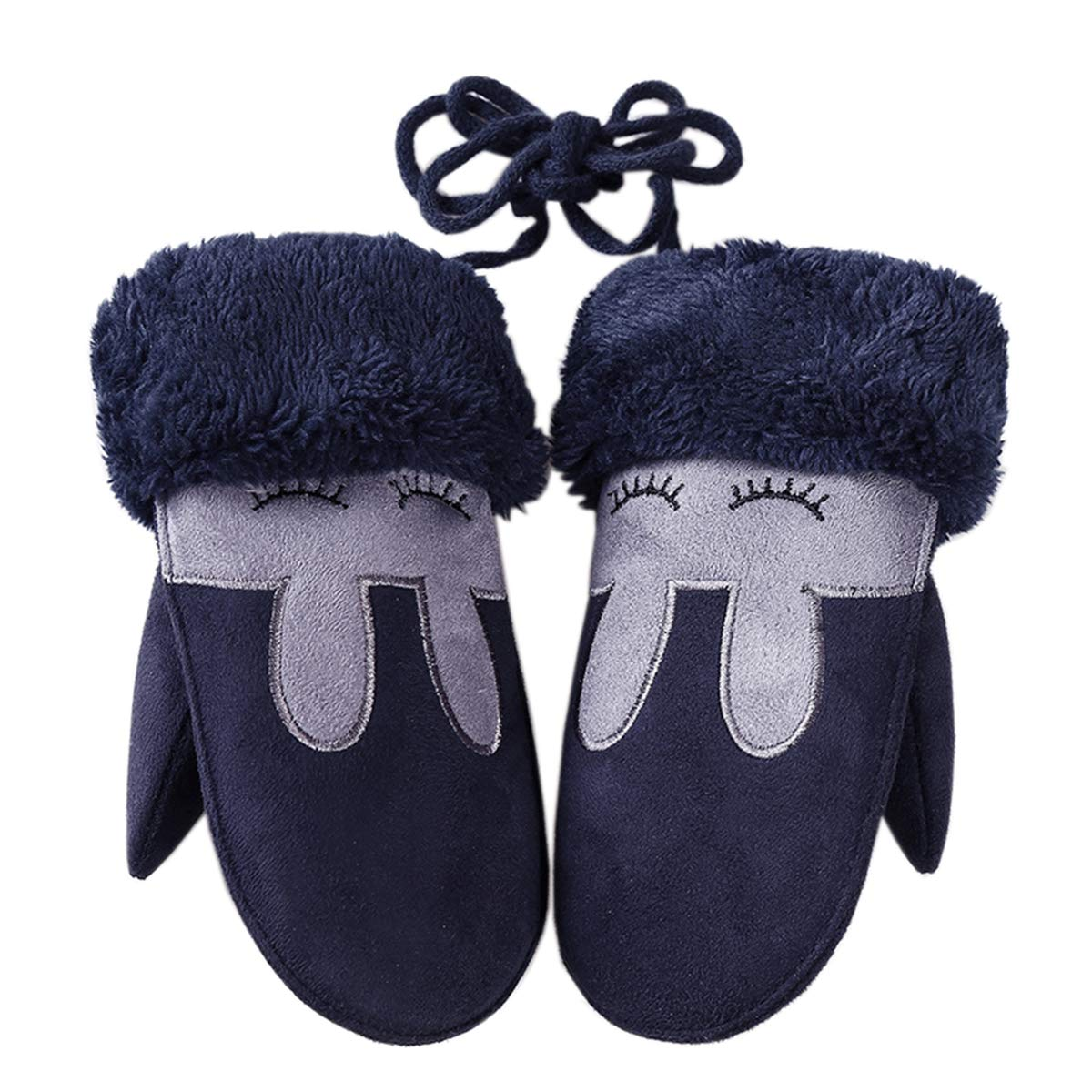 Color 3 W-RHYME Girls Mittens with Strings Warm Thick Faux Suede Gloves