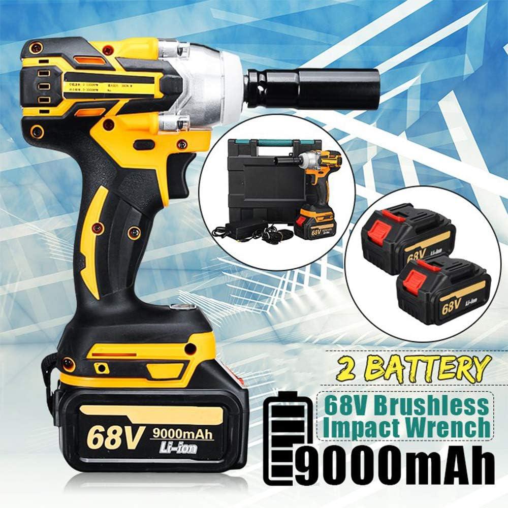 520N.m Cl/é /à Chocs /électrique sans Fil Tournevis /à Moteur sans Balais avec 2 x 9000mAh Li-Battery Rechargeable AC 100-240V