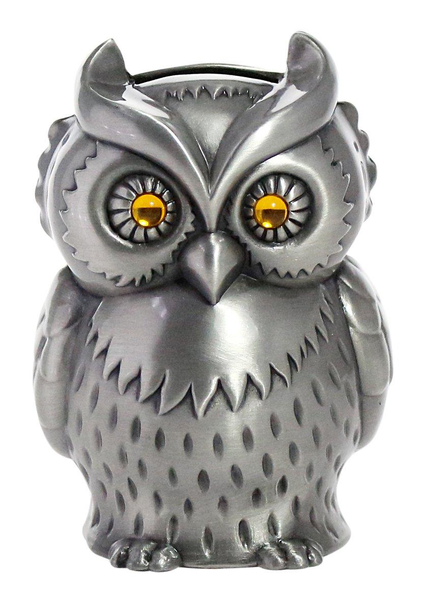 "JustNile Vintage Zinc Alloy Owl Piggy Bank, Kids Money Coin Saving Box, Engraved Metal Silver Animal Figurine Decor, House Tabletop Ornament, 3.1""x2.9""x4.3"""