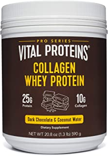 product image for Collagen Whey Protein Powder - 25g of protein per serving (Dark Chocolate), 20.2 oz Canister - Vital Proteins Whey