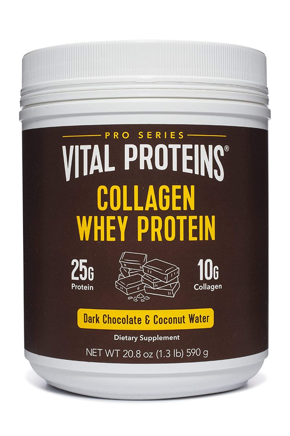 Collagen Whey Protein Powder – 25g of protein per serving Dark Chocolate , 20.2 oz Canister – Vital Proteins Whey