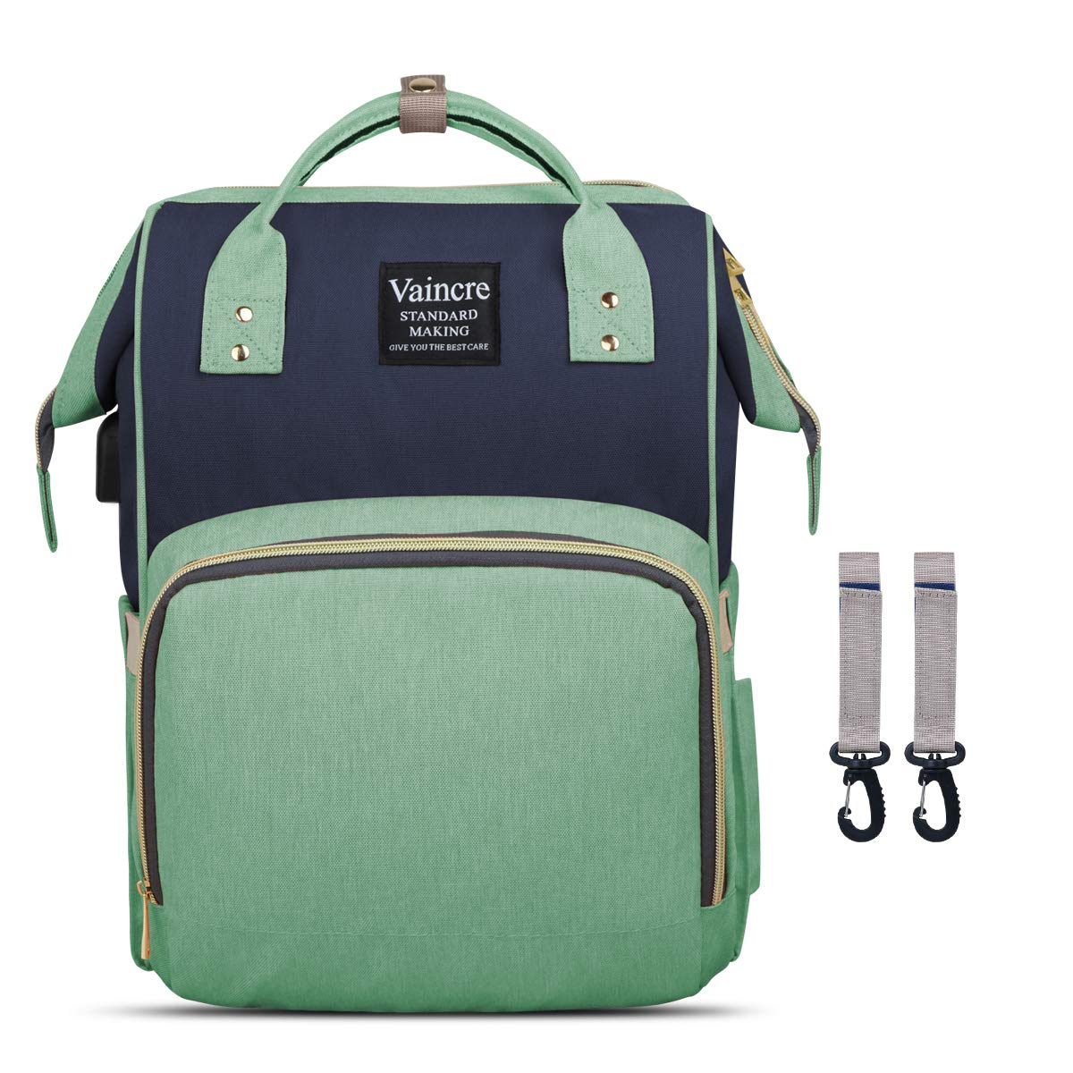 Vaincre Diaper Bag Multi-Function Color Block Waterproof Backpack Nappy Bags for Travel with Baby, Large Capacity, Stylish and Durable, Green