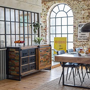 Made In Meubles Buffet Industriel Porte Coulissante Moxbpc