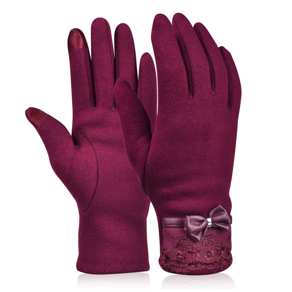 Vbiger Women's Touchscreen Gloves Warmer Flocking Lace Gloves