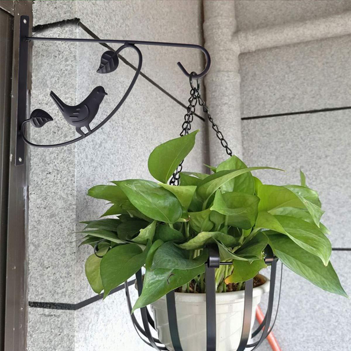 Yardwe Plantas Colgantes Soporte de Hierro Jardinera de Pared Gancho Maceta Comedero para p/ájaros Percha Cerca de jard/ín Patio al Aire Libre Patio de jard/ín