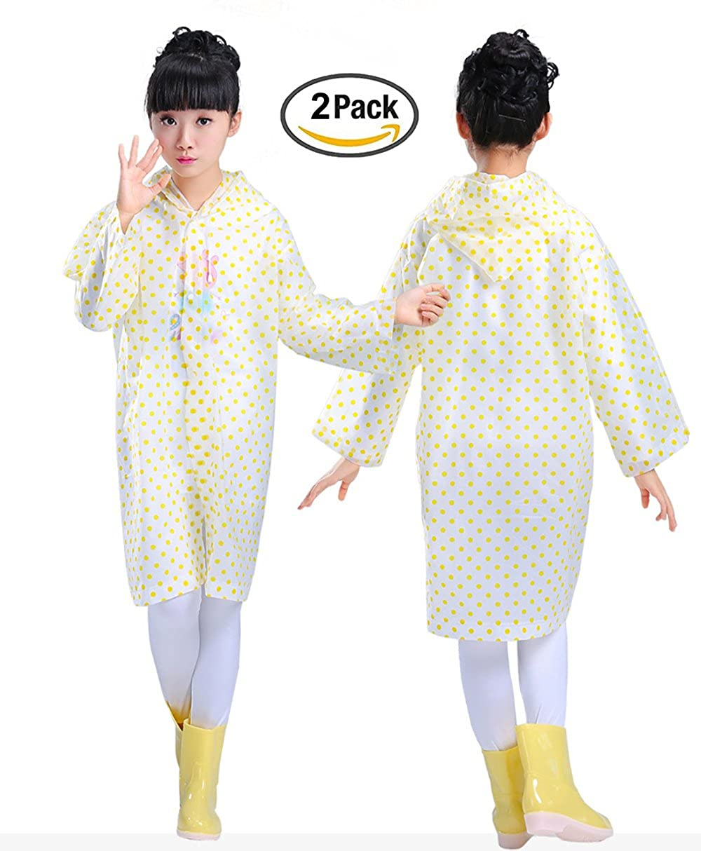 Smartown Age 6-14 Kids Dots Style Hooded Rain Poncho Raincoat Cover Long Rainwear for Girls