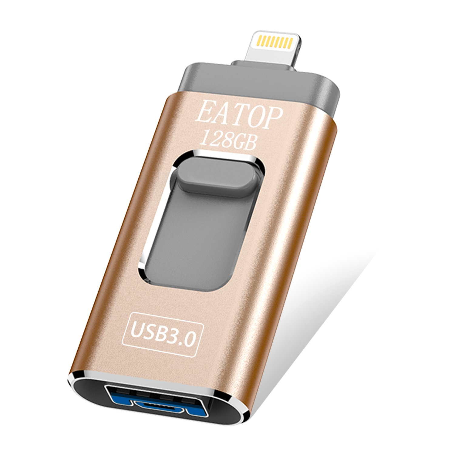 iOS Flash Drive 128GB iPhone Memory Stick, EATOP Thumb Drive USB 3.0 Lightning Memory Stick iPhone iPad Android Computers (Gold)