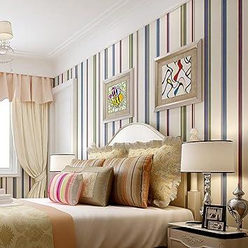British American Land Grüne Tapete Schlafzimmer Kinderzimmer Farbe  Vertikale Streifen Reine Papiertapete