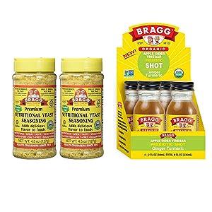 Bragg Nutritional Yeast Seasoning 4.5 Oz Pack of 2 and Bragg Organic Apple Cider Vinegar Shot with Ginger Turmeric 2 Oz ACV Shot Pack of 4 Bundle