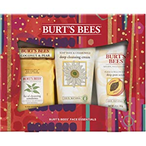 Burt's Bees Face Essentials Holiday Gift Set, 4 Skin Care Products - Cleansing Towelettes, Deep Cleansing Cream, Deep Pore Scrub And Lip Balm