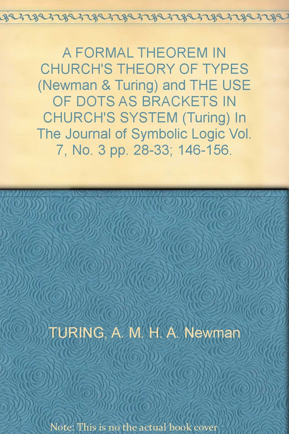 A Formal Theorem In Churchs Theory Of Types Newman Turing And