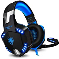 Cuffie Gaming PS4 KINGTOP KG2000 Cuffie Da Gaming Con Microfono LED Luce Regolatore di Volume Per PlayStation 4 PC Xbox One S Cellulari, Blu e Nero