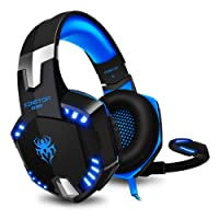 Gaming Headset PS4 KINGTOP KG2000 Wired Stereo Gamer Headphones with Mic Bass LED Light Volume Control for PlayStation 4 Xbox One S Nintendo Switch PC Laptop Tablet Mobile - Black & Blue