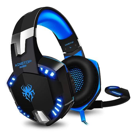 Gaming Kopfhörer PC KINGTOP PS4 Headset mit Mikrofon LED Bass Lautstärkeregelung Stereo Gamer Headset für Play Station 4, Xbo