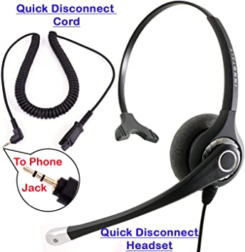 Quick Disconnect 2.5mm Plug to QD Cable,Headset Cord for All Plantronics QD Compatible Headsets