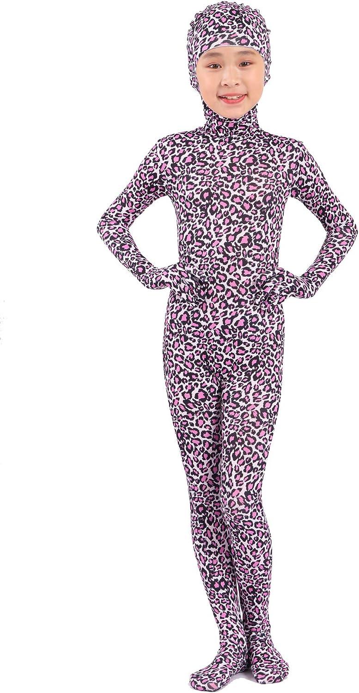 Seeksmile Kids Face Open Snake Leopard Print Full Body Costume Bodysuit