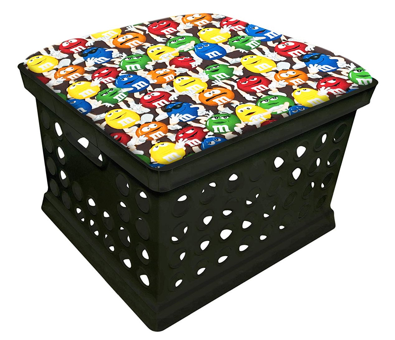 Black Utility Crate Storage Container Ottoman Bench Stool for Office/Home/School/Preschools with Your Choice of Seat Cushion Theme and a Free Flashlight! (M & M Big Fun)