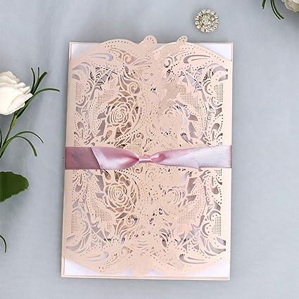 Lazder 50 Tarjetas De Invitación De Boda Con Cinta Floral
