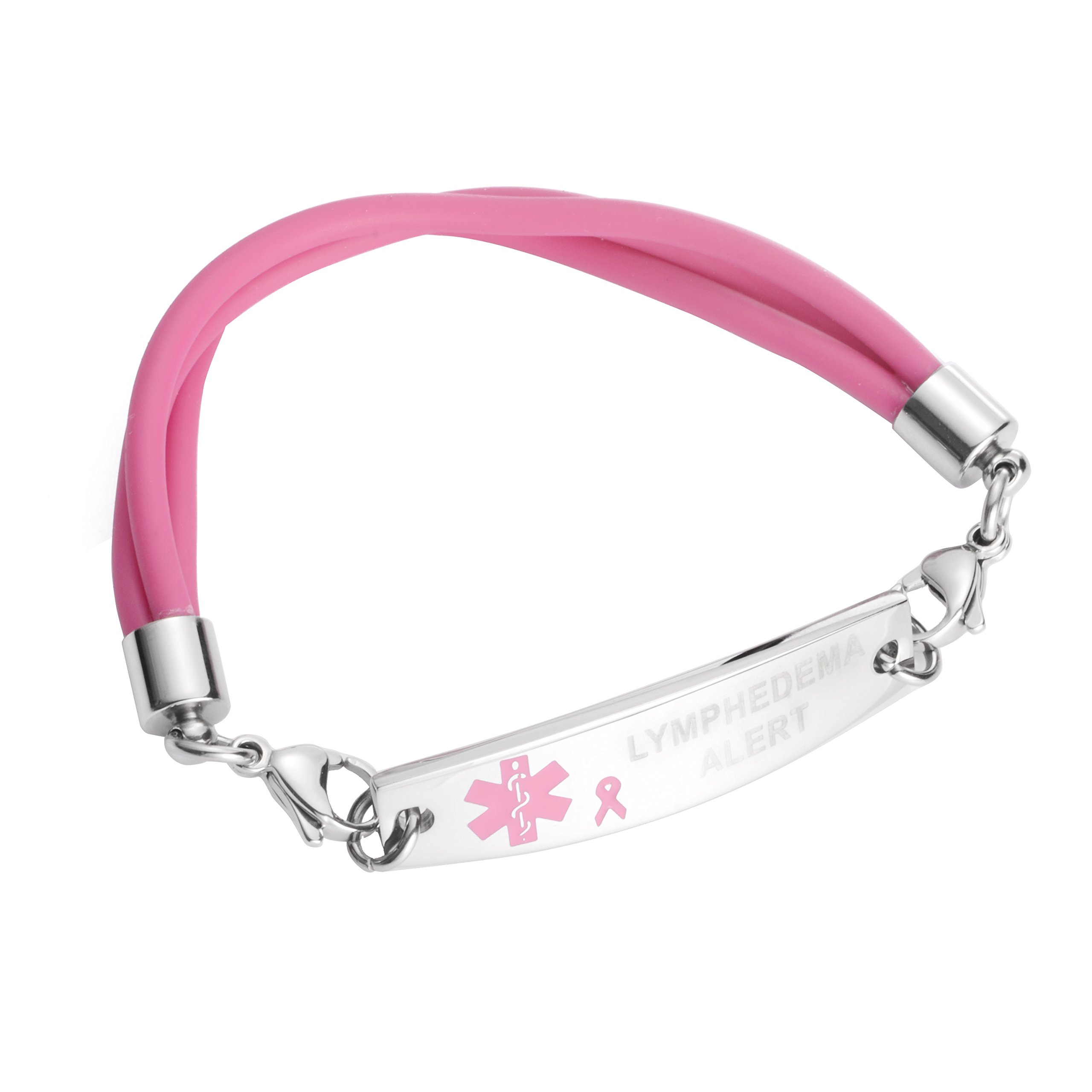 Medical ID Stainless Pink Ribbon Silicone Bracelet - Lymphedema Alert No BP IV