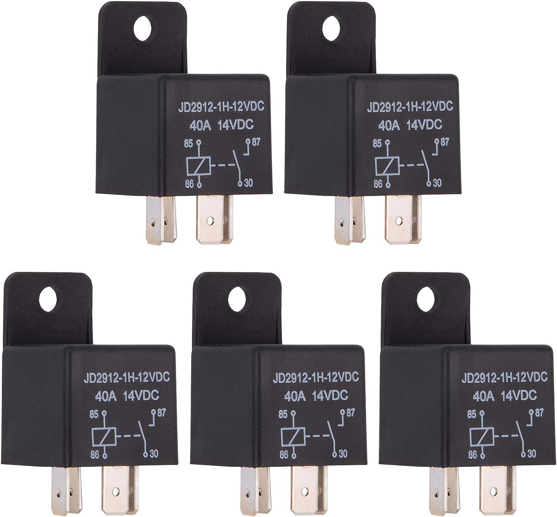 Ehdis® Coches relé 4 Pin 12v 40amp Spst Modelo No .: JD2912-1H-40A 12VDC 14VDC de los detectores magnéticos y Entrantes, Paquete de 5