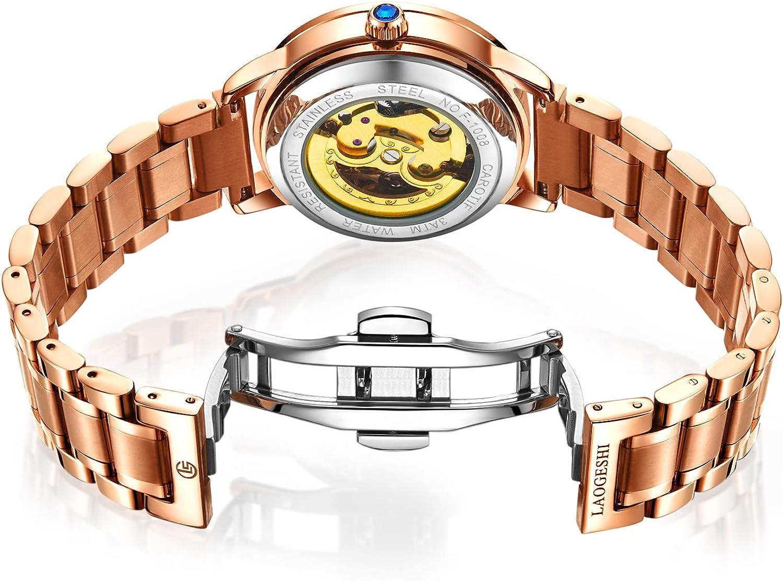 RORIOS Montre Mécanique Automatique Femme Lumineuses Montre Brillant Ciel étoilé Dial Acier Inoxydable Cadran en Diamant Simulé Bracelet Dames Montres Or Blanc