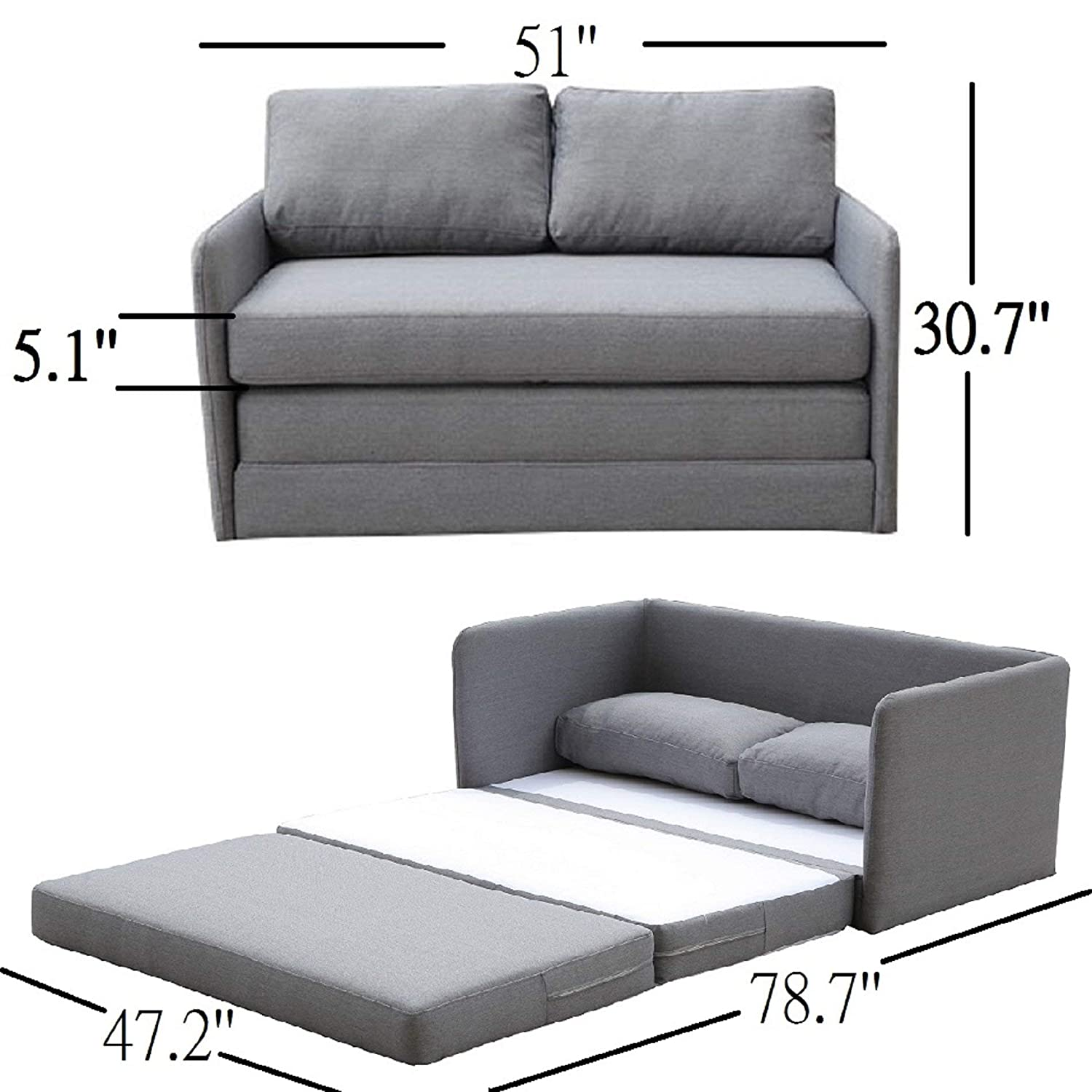 Container Furniture Direct Kathy Collection Modern Contemporary Fabric  Upholstered Livingroom Loveseat Sleeper, Grey