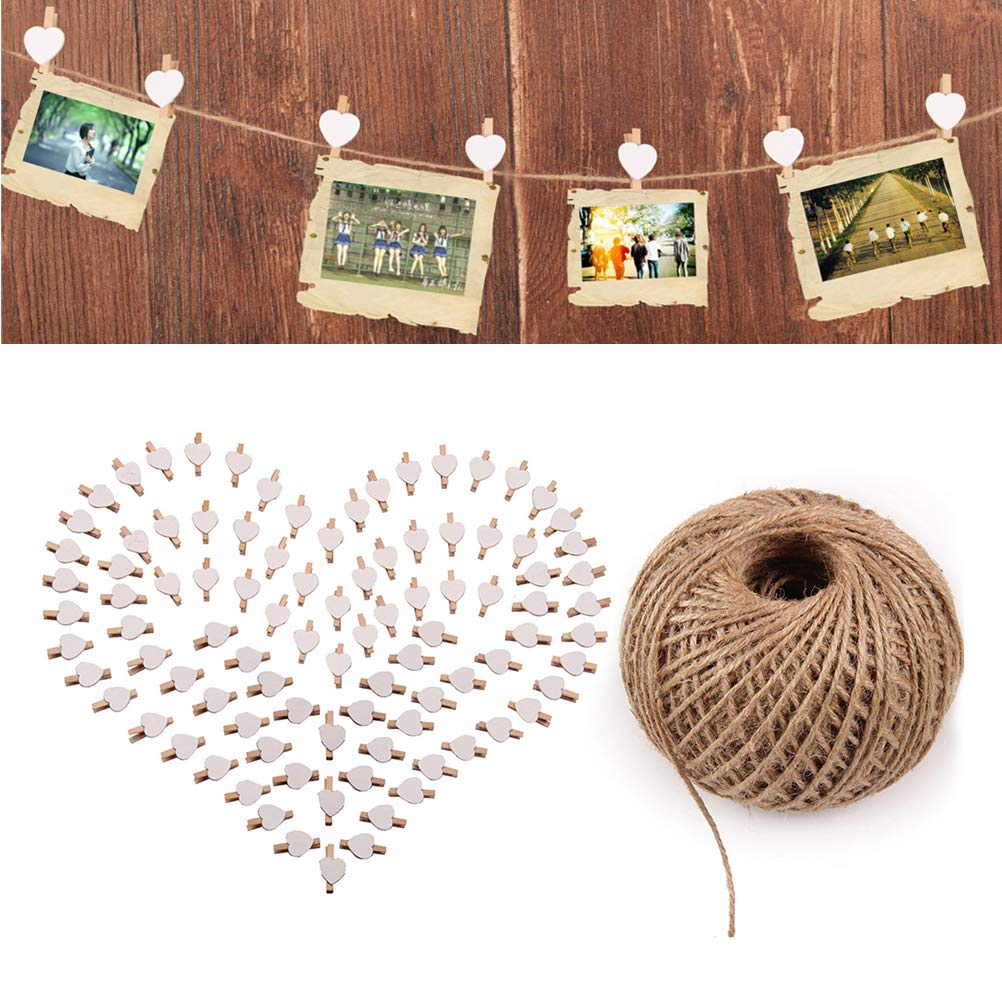 101pcs Picture Clips Set with Jute Twine Wood Craft Clips Photo Pins Clothepins with White Heart Pattern (100pcs Clips and 1pc 100Yard String) by BESTOYARD (Image #6)