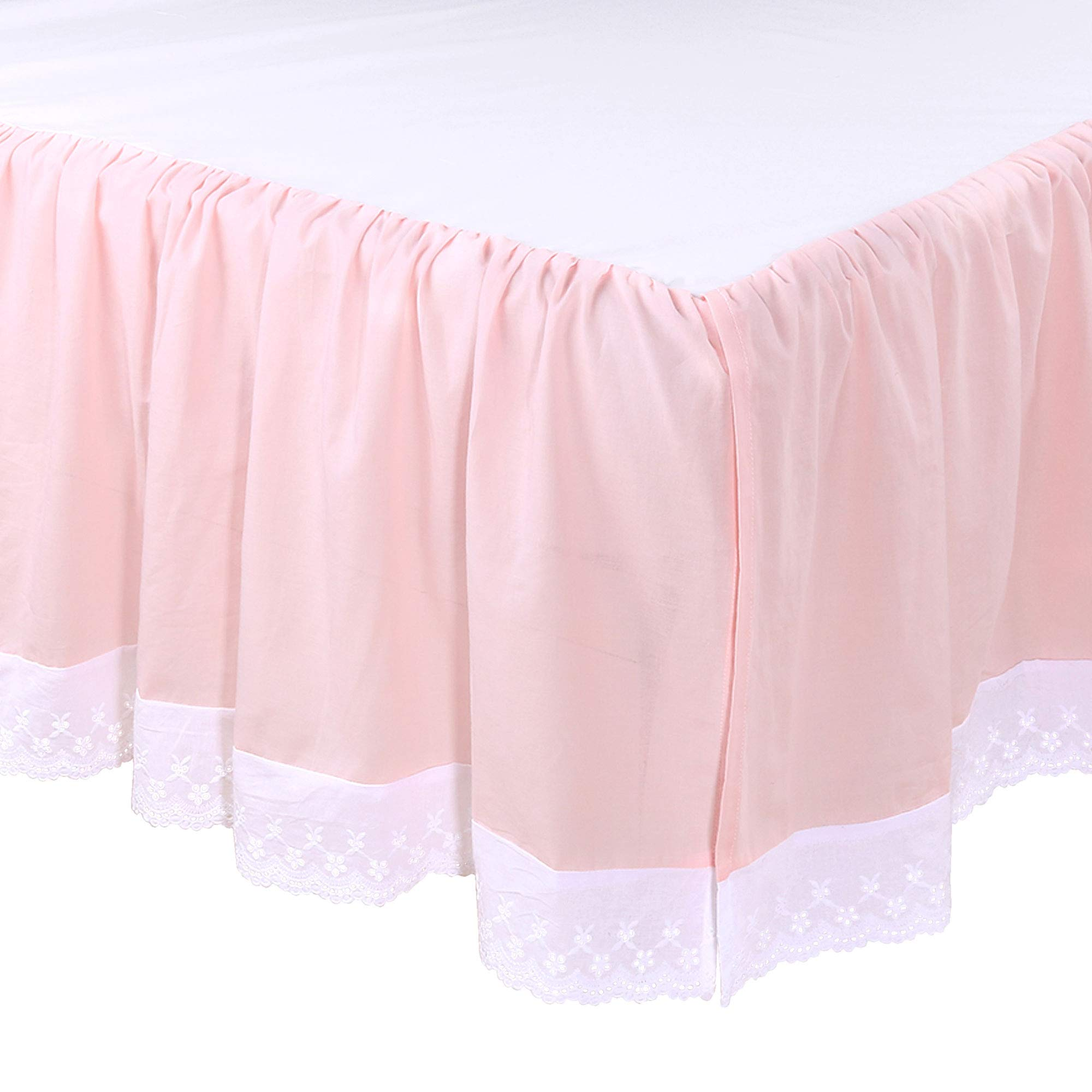 Farmhouse Pink Ruffled Baby Girl Crib Skirt - 100% Cotton Drop with White Eyelet by The Peanut Shell
