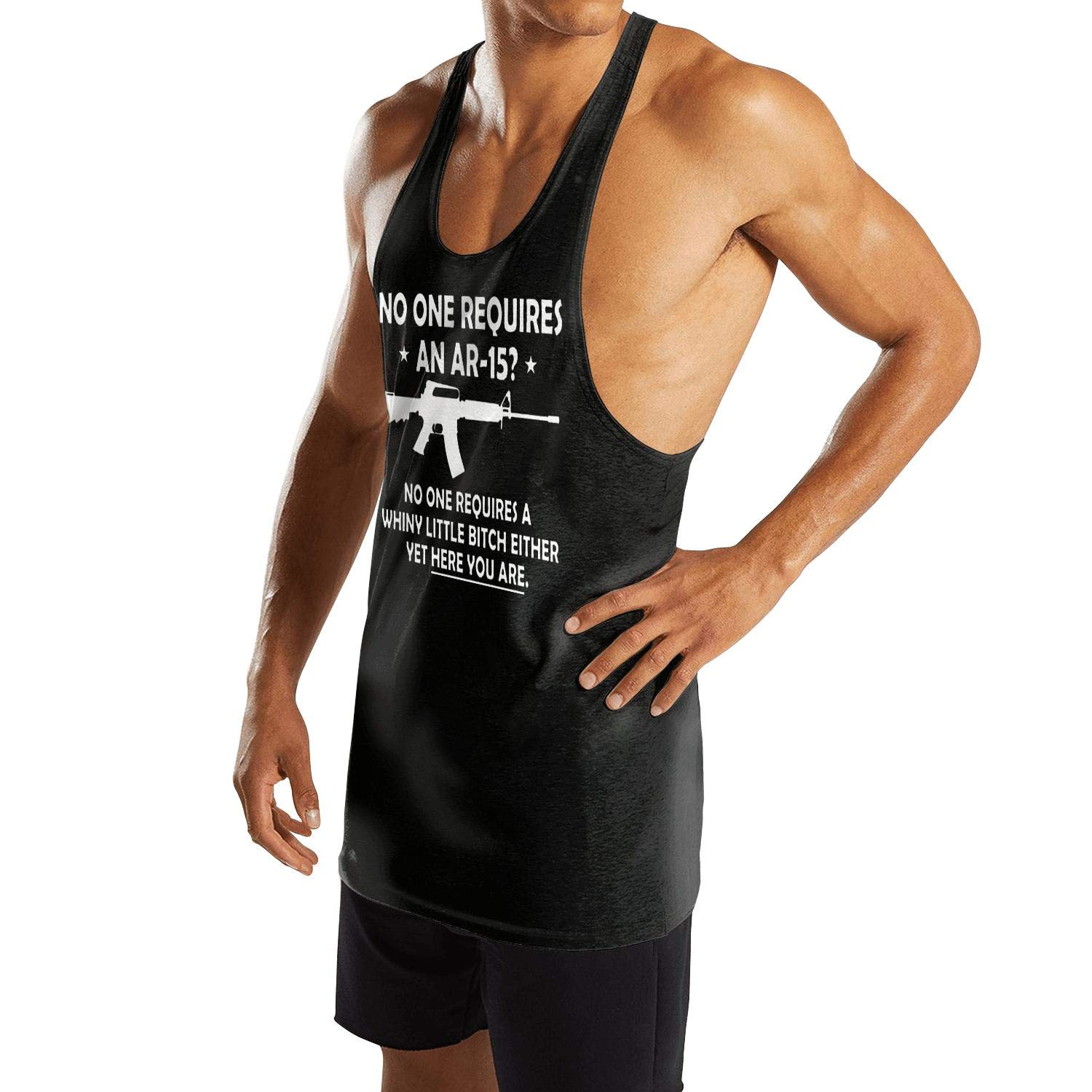 Mens Sleeveless Tank Tops NO ONE Requires an AR-15 A Whiny Bitch Vest Casual Stringer Waistcoats
