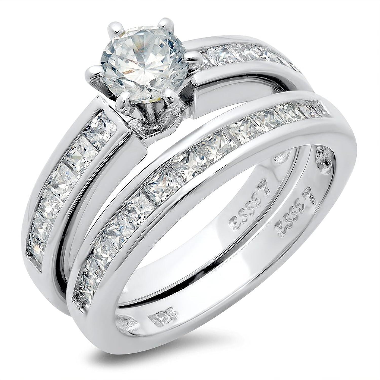 Amazoncom Sterling Silver Cubic Zirconia CZ Wedding Engagement