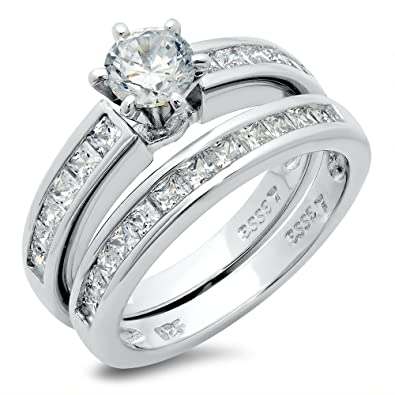 diamond engagement silver rings fake wedding