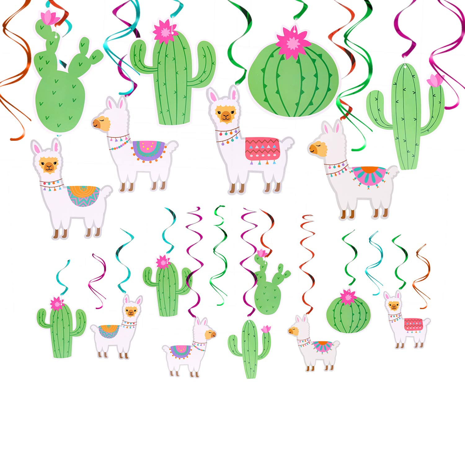 32Ct Llama Cactus Hanging Swirl Decorations, Llama Themed Birthday Party Supplies, Bolivian Peru Alpaca Party Cactus Baby Shower Succulent Party Home Decor