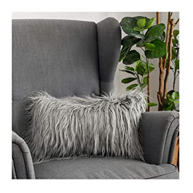 LANANAS Luxury Soft Plush Faux Fur Throw Pillow Covers for Couch Decorative Mongolian Fur Throw Pillow Covers (12''X20'', Grey)