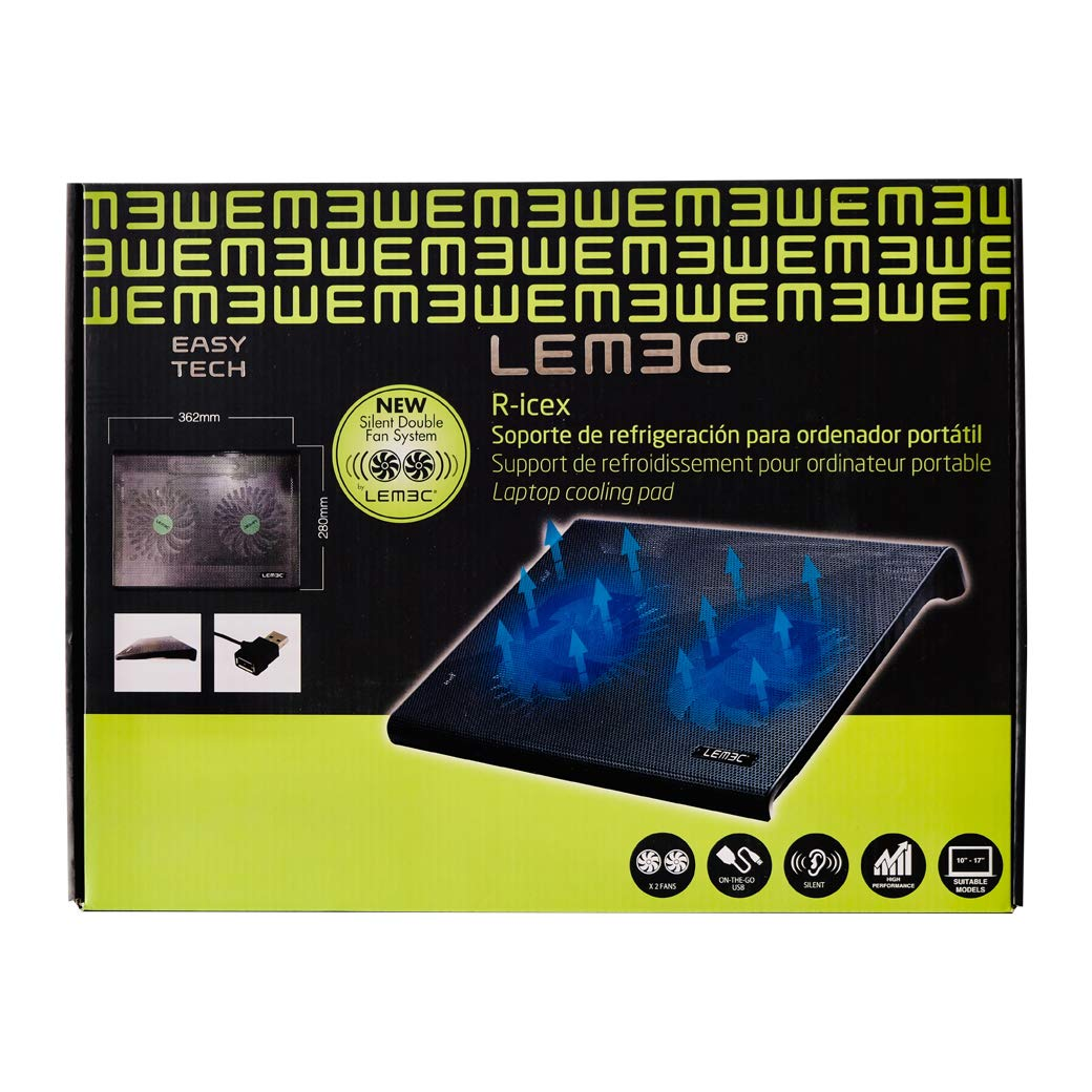 LEMEC Laptop PC Cooling Pad Blue LED Lighting 10 to 17 Laptop Stand USB connection 2 x 3000 RPM Fans 36.2 x 28 cm