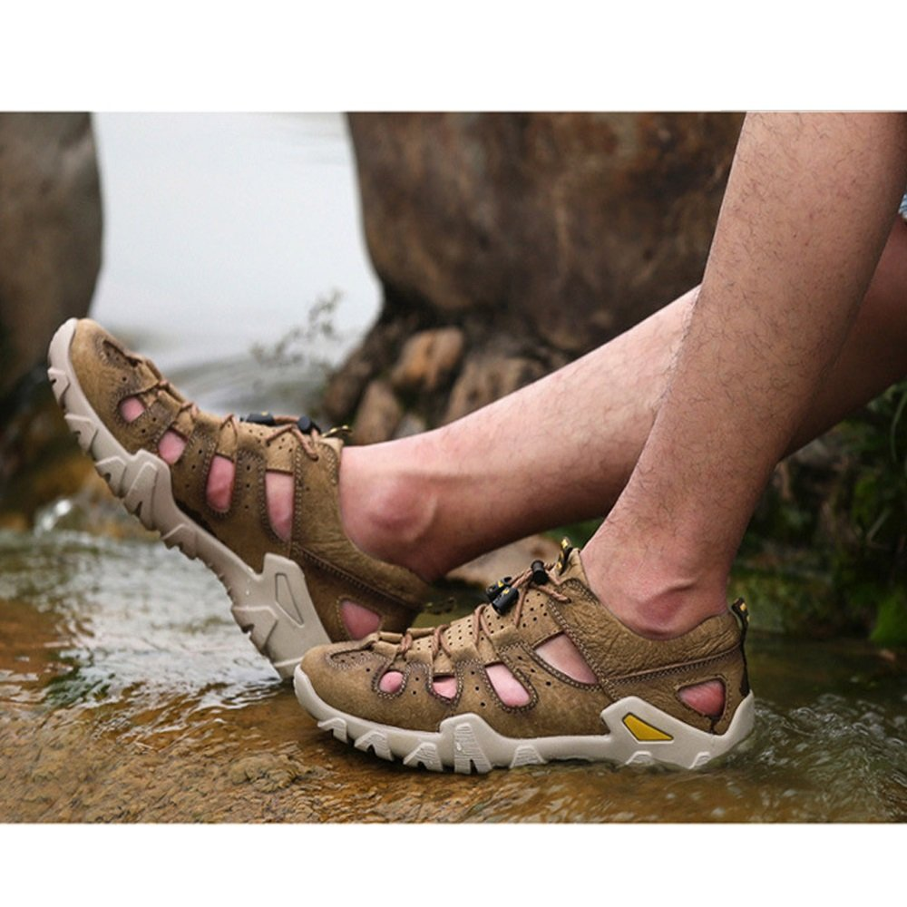 Xiaoqin Herren Fischer Sandalen Leder Breathable Sandale Rutschfeste (Farbe Einstellbare Sommer Strand Hausschuhe (Farbe Rutschfeste : Khaki, Größe : 41 1/3 EU) Braun da7ea3