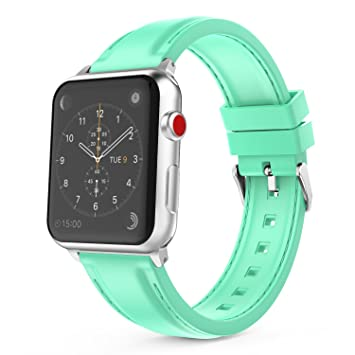 MoKo Correa para Apple Watch 38mm 40mm- Reemplazo Suave Silicona SmartWatch Band Deportiva con Puntadas para Apple Watch 38mm 40mm Series 1/2/3/4, ...
