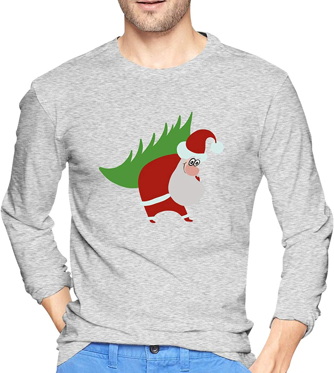 LONGTENG Customized Santa Claus1 Fashion T Shirt O-Neck Pure Cotton for Man Black