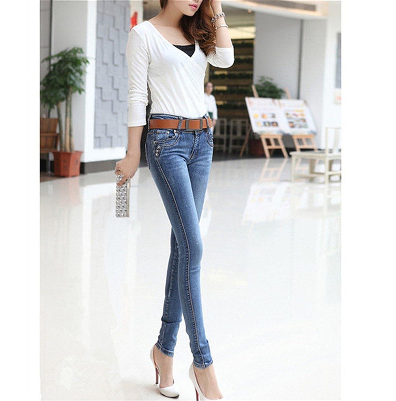 Huainsta New Plus Size Full Length Trousers Slim Jeans Female Pencil Pants Woman