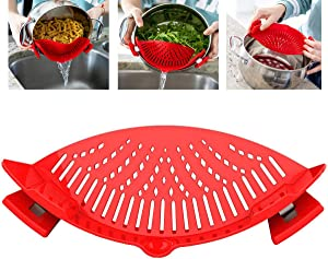 Clip on Kitchen Food Strainer for Spaghetti Strainer for Pots Pan Pasta Strainer, Silicone Food Strainer Hands-Free Pan Strainer,Fun Kitchen Gadgets Cool Gadgets Universal Fit for All Pots