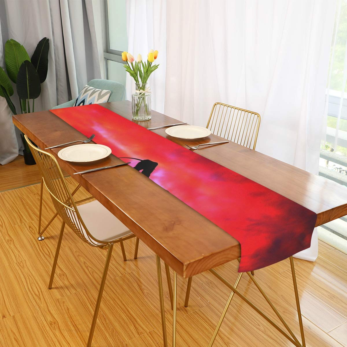 """Rod Whitehead Red Glow Table Runner Dresser Scarves for Catering Events, Dinner Parties, Wedding, Holiday, Indoor Outdoor Parties Decorations,Rectangular 13"""" x 90"""""""