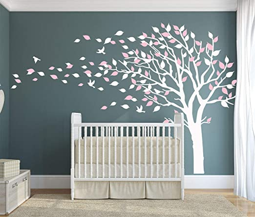 Studio Quee White Tree Wall Decals Large Nursery Tree Decals with Birds Stunning White Tree Decals Wall Tattoos Wall Mural Removable Vinyl Wall Sticker KW032/_1