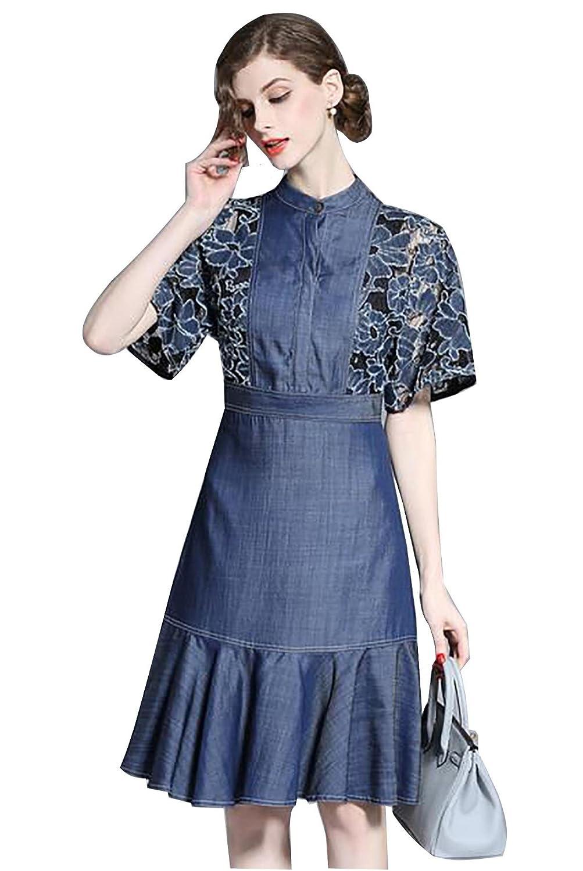 cola de pescado encaje bordado vestido de dril de algodón de 2017 nuevas mujeres