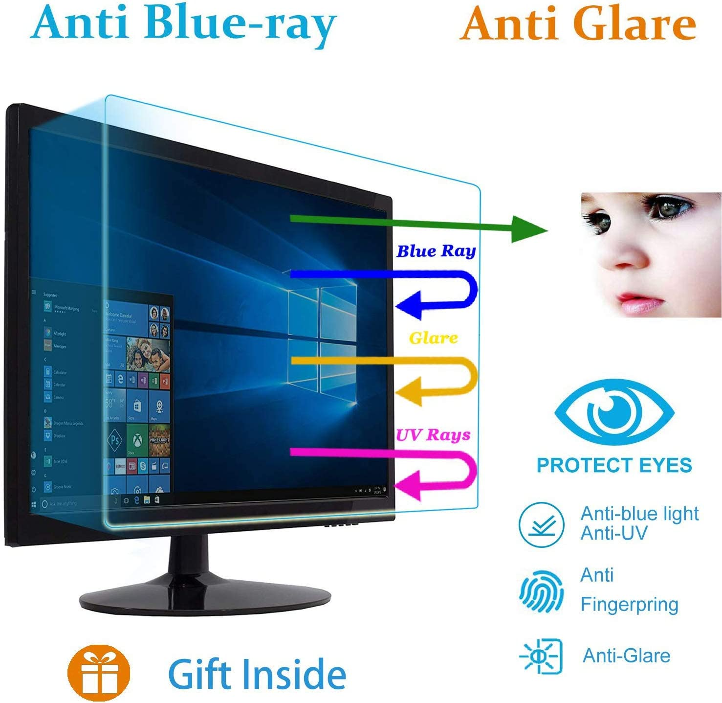 "21.5"" Eyes Protection Anti Blue Light Anti Glare Screen Protector fit 21.5 Inches Widescreen Desktop Monitor Screen (18.7"" x 10.6""). Reduces Digital Eye Strain Help You Sleep Better"