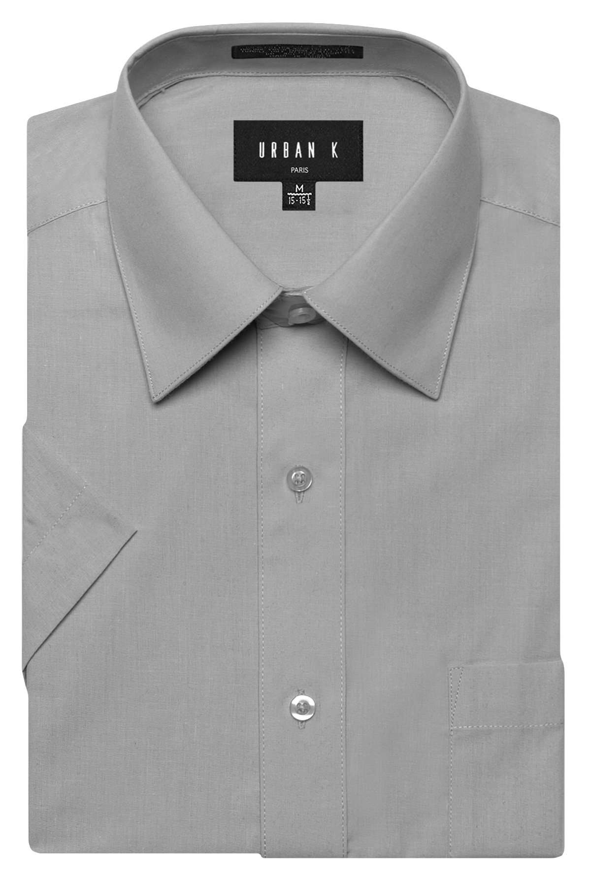 URBAN K Men's Classic Fit Solid Formal Collar Short Sleeve Dress Shirts Regular & Plus Size, Ubk-light Grey, 2XL/18-18.5 N