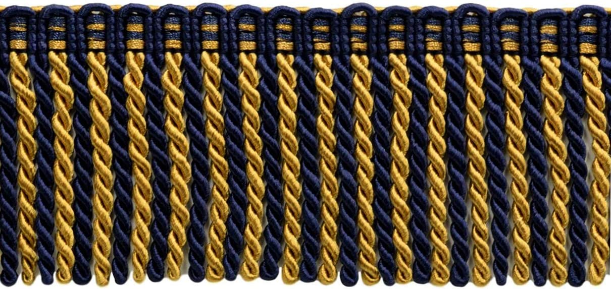 5.4 Yards // 5 Meters Gold Oceans Gold 1152 Navy Blue D/ÉCOPRO 16 Feet Value Pack of 3 Inch Long Bullion Fringe Trim Style# DB3